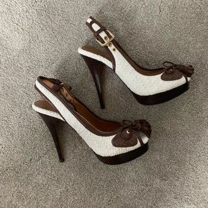 Zara brown and white peep toe with bow.